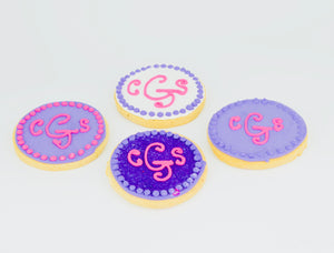 COOKIE FAVORS WEDDING/MONOGRAM CIRCLE