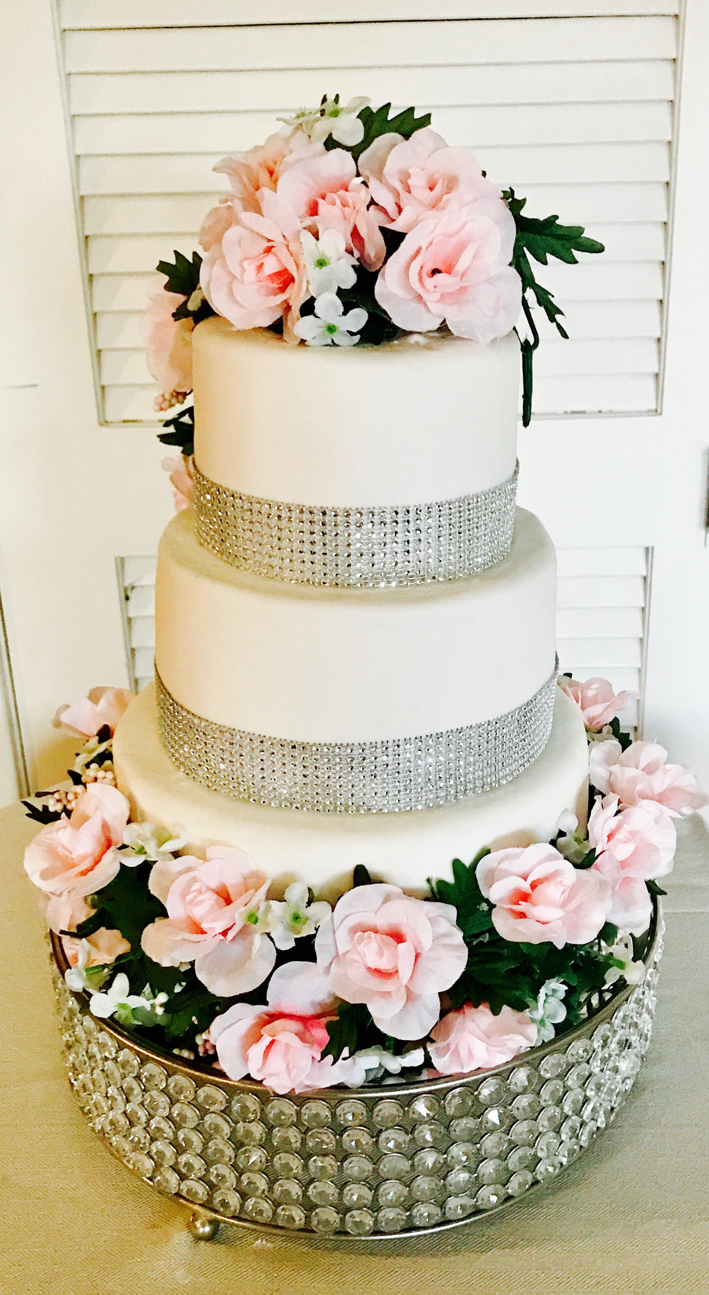WEDDING CAKE RHINESTONES & FLOWERS