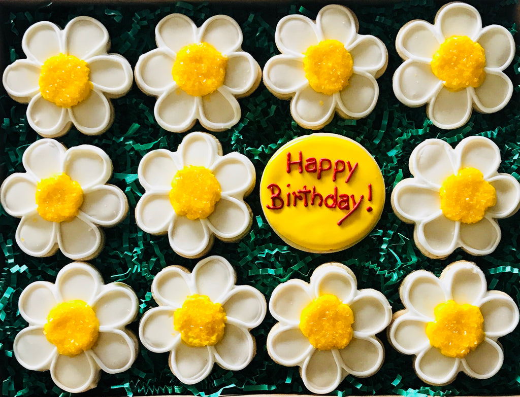 HAPPY BIRTHDAY DAISIES DELUXE COOKIE GIFT BOX