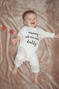 Mummy will you marry daddy? 100% Organic Cotton Baby Romper