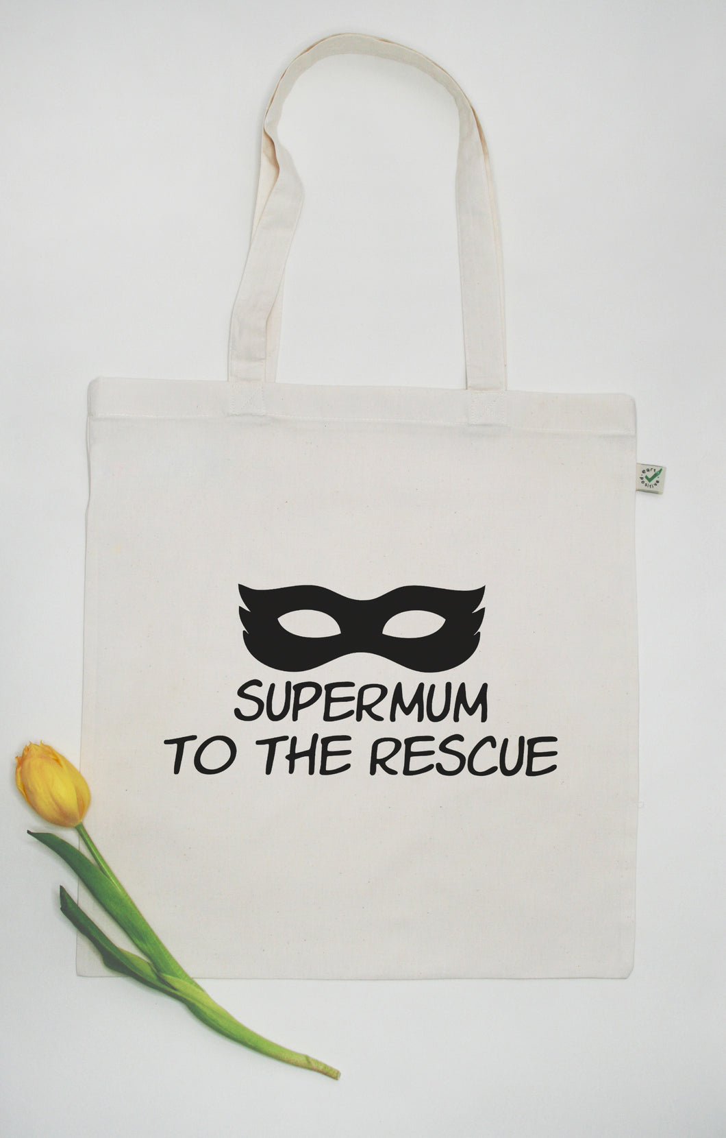Supermum to the rescue - 100% Organic and Fairtrade Cotton Tote Bag