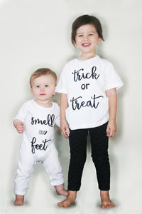 Trick Or Treat, Smell My Feet Siblings Organic Cotton Set