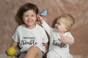 Here comes trouble, more trouble Siblings Organic Cotton Set