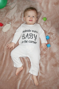 """Nobody puts baby in the corner"" 100% Organic Cotton Baby Romper"