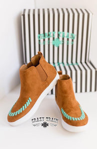 Crazy Train Brown n turquoise wedge