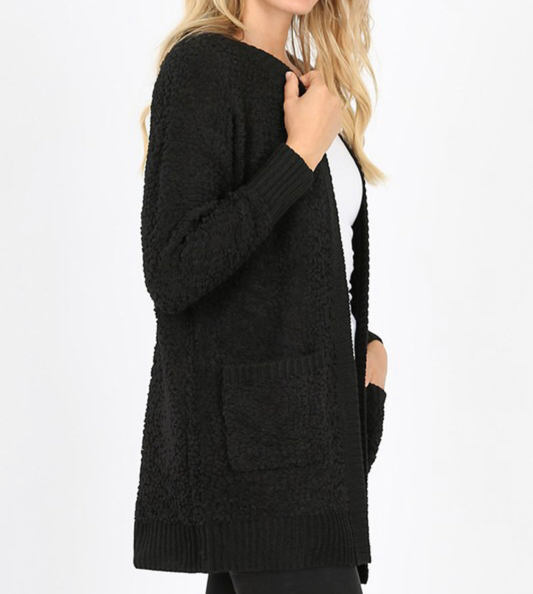 Black Popcorn Cardigan Sweater