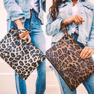 """The Madison ""Large Leopard Wristlet"