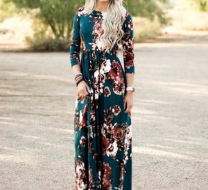 Teal Fall Floral Maxi