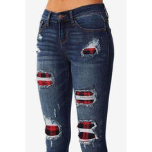 Load image into Gallery viewer, Plaid Patch Denim Jeans