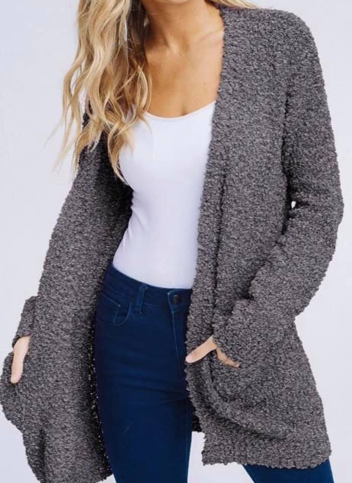 Ladies Charcoal Grey Cardigan Sweater