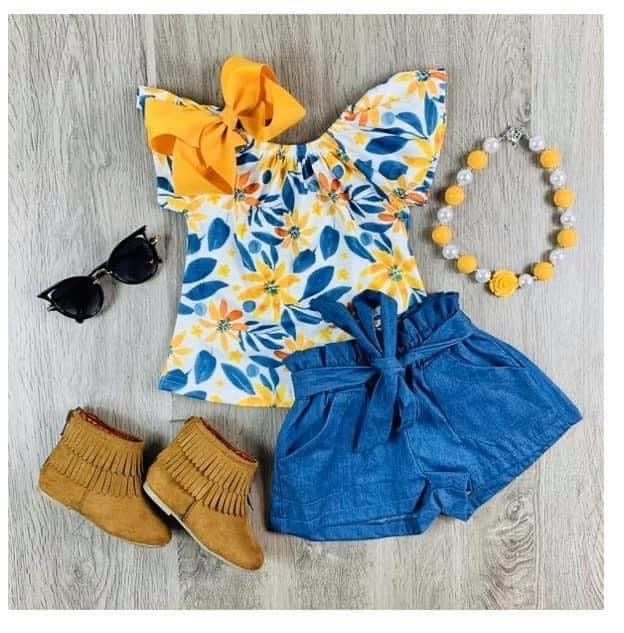 Flower denim set