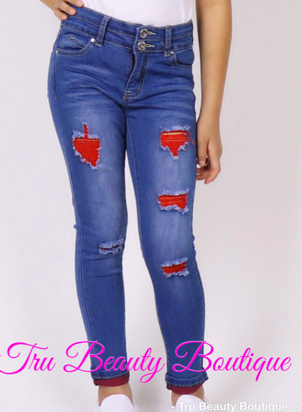 Distressed kids Red jeans