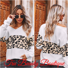 Load image into Gallery viewer, White plush leopard sweaters