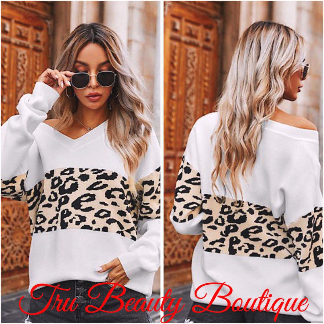 White plush leopard sweaters