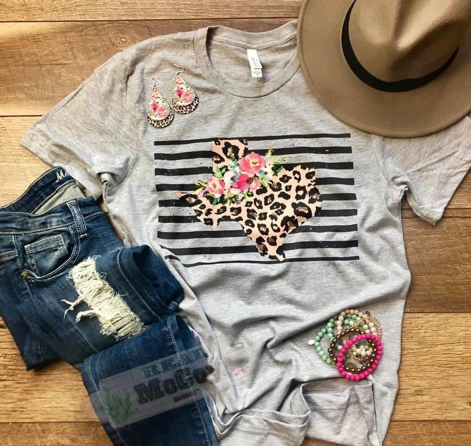 Floral and Striped Texas Tee