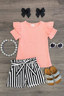 Coral, Black and white striped set