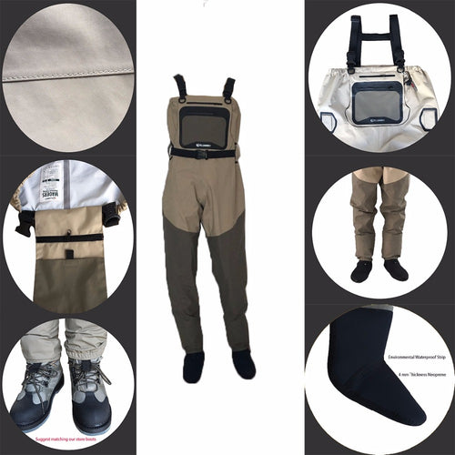 Light-Weight Feather breathable Fly Fishing Waders Additional Durability suit chest overalls boots Men ELUANSHI factory outlet
