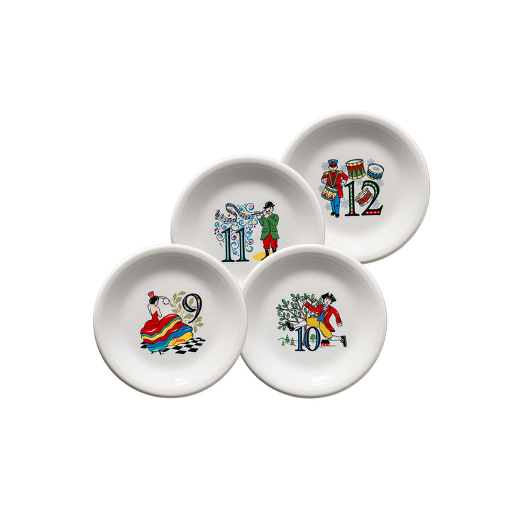 12 Days Of Christmas Salads (Set of 4, Series 3) - USA Dinnerware Direct, Holiday proudly made in the USA. Deep discounts of up to 70% off all Fiesta, tabletop and kitchen ware.