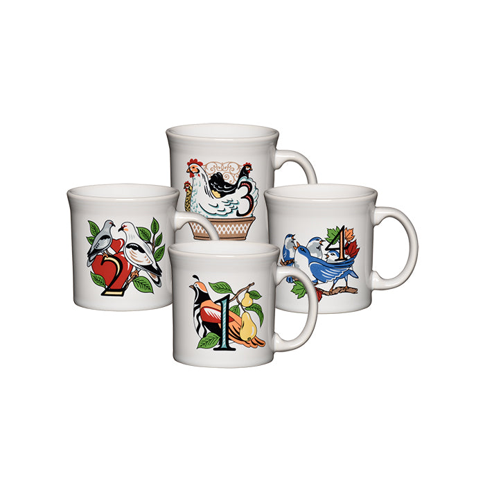 12 Days Of Christmas Mugs (Series 1, Set of 4) - USA Dinnerware Direct, Holiday proudly made in the USA. Deep discounts of up to 70% off all Fiesta, tabletop and kitchen ware.
