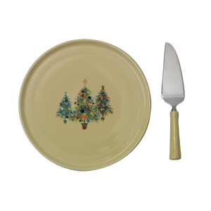 Trio Of Trees Cake Plate & Server - USA Dinnerware Direct, Holiday proudly made in the USA. Deep discounts of up to 70% off all Fiesta, tabletop and kitchen ware.