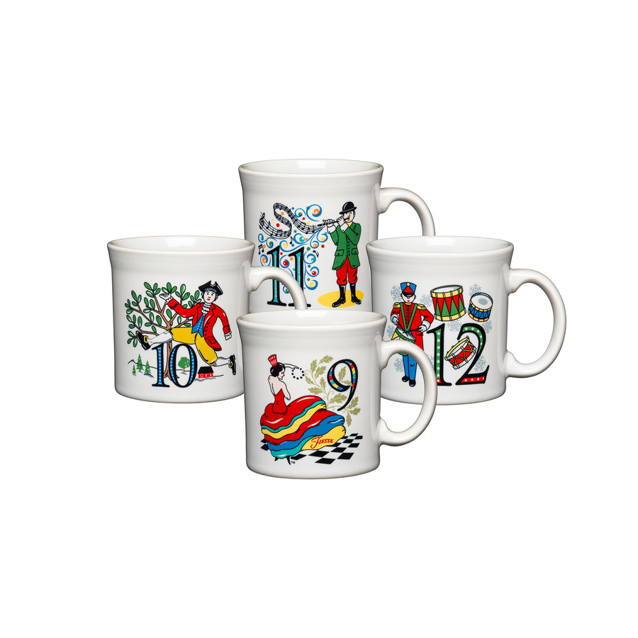 12 Days Of Christmas Mugs (Set of 4, Series 3) - USA Dinnerware Direct, Holiday proudly made in the USA. Deep discounts of up to 70% off all Fiesta, tabletop and kitchen ware.