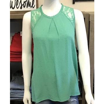 Green Mint Swiss Dot Tank with Lace Detail