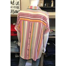 Pink Striped Top with Button Back Detail