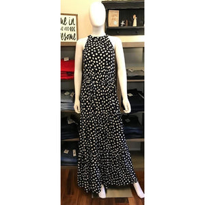Navy and White Polka Dot Tiered Maxi Dress
