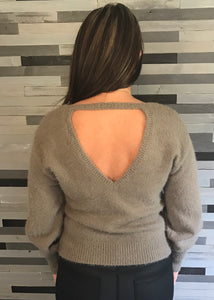 Grey Fuzzy Sweater with Open Back