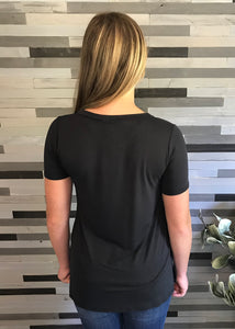 Black V-Neck Tee with Criss-cross Detail
