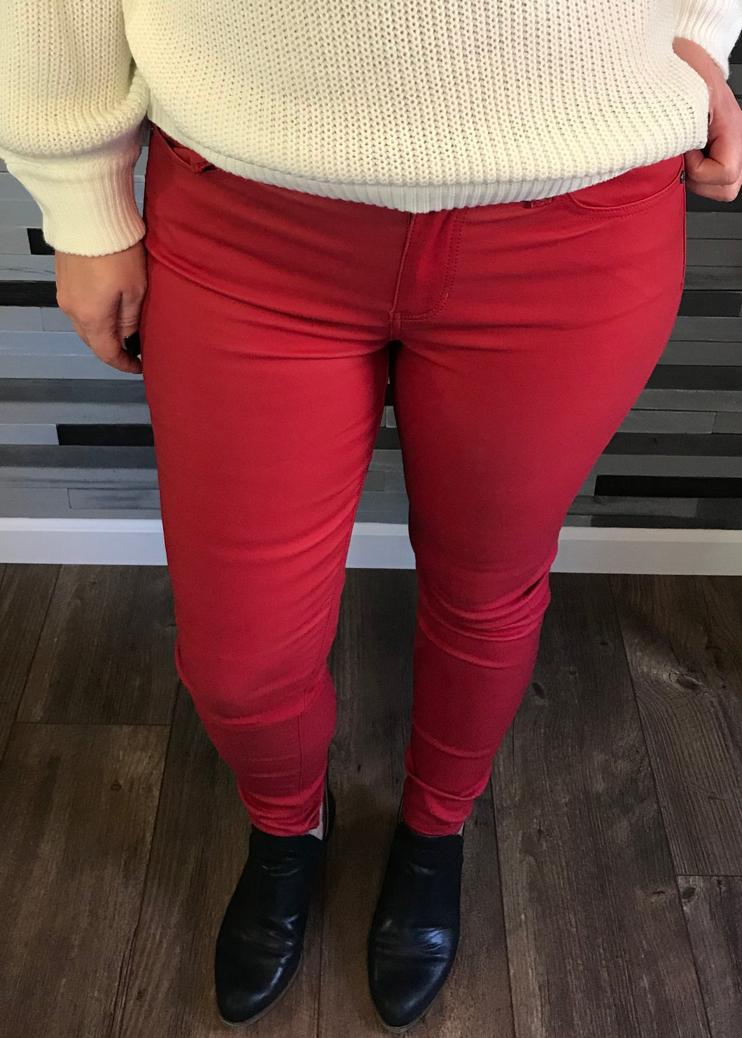 Liverpool Red Coated Denim Abby Skinny