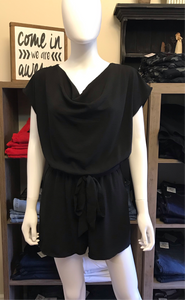 Black Cowl Neck Woven Romper with Waist Sash