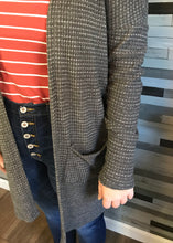Charcoal Waffle Knit Cardigan with Pockets