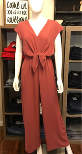 Mauve Jumpsuit with Tie Front Detail
