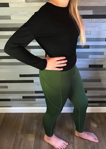 Olive Green High-Waist Tech Pocket Leggings