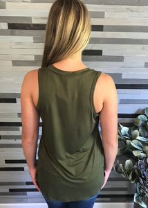 Army Green V-Neck Tank with Pocket