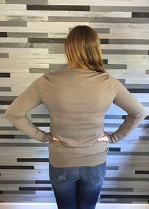 Olive Sweater with Cuff Buttons