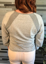 Grey V-Neck Top with Waffle Knit Detail