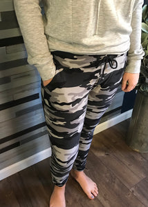 Grey and Black Camo Joggers