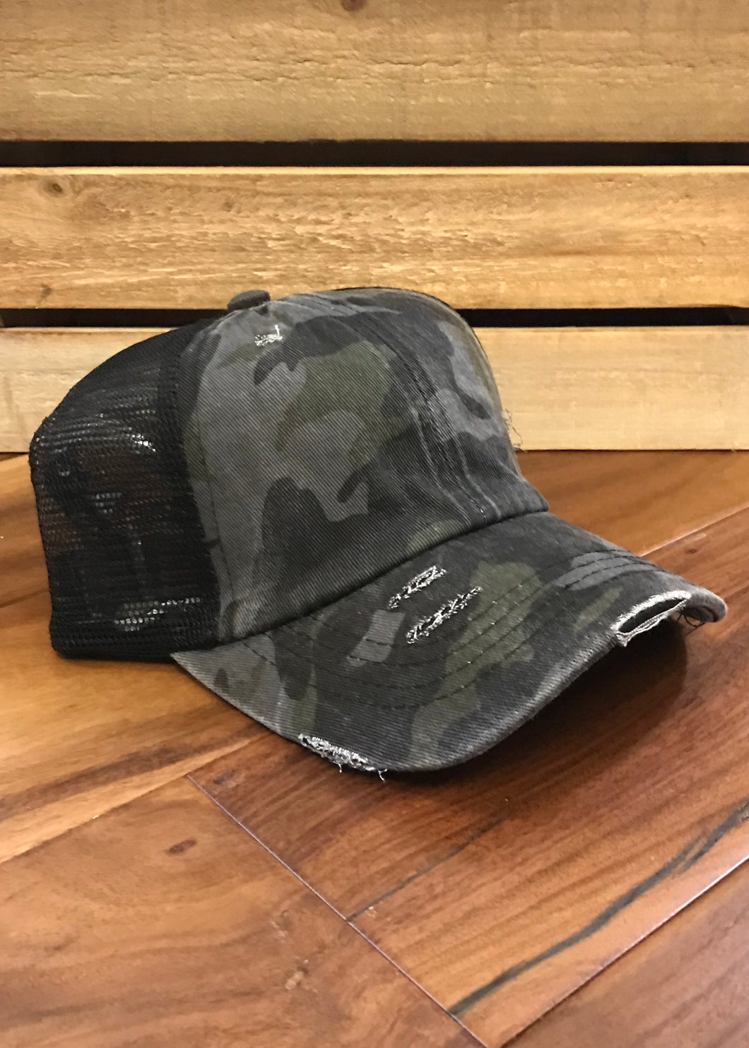 C.C Distressed Black Camo PonyCap