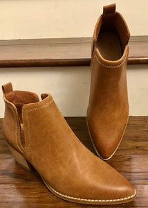 Camel Pleather Heeled Bootie