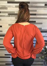 Rust Bubble Sleeve Top
