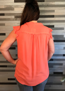 Salmon Ruffle Sleeves Top