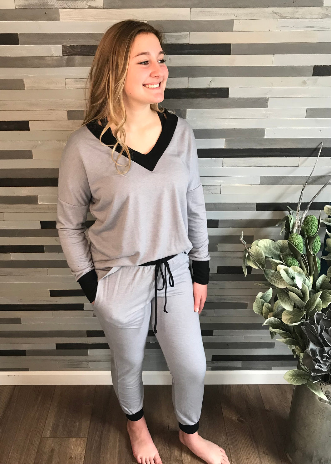 Grey V-Neck Lounge Set