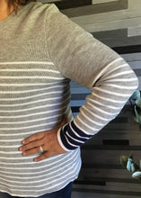 Grey, White, & Navy Striped Sweater