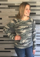 Camo Pullover Top with Kangaroo Pocket