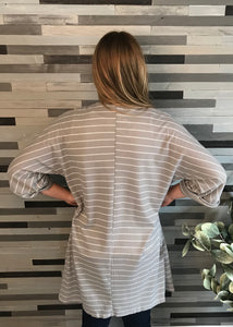 Grey Thermal Striped Cardigan
