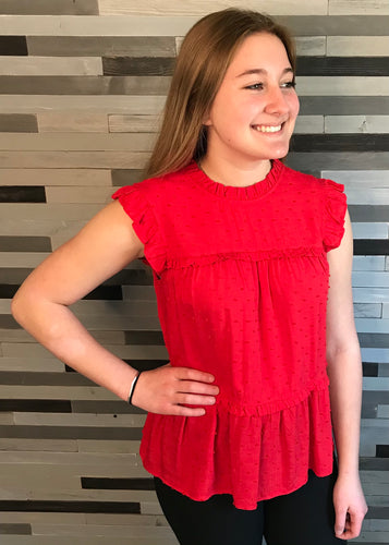 Red Sleeveless Tiered Blouse