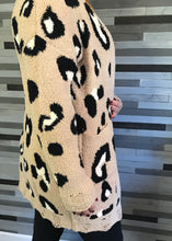 Mocha & Leopard Soft Cardigan Distressed Cuffs and Hem
