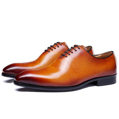 Genuine Leather Carved Oxford